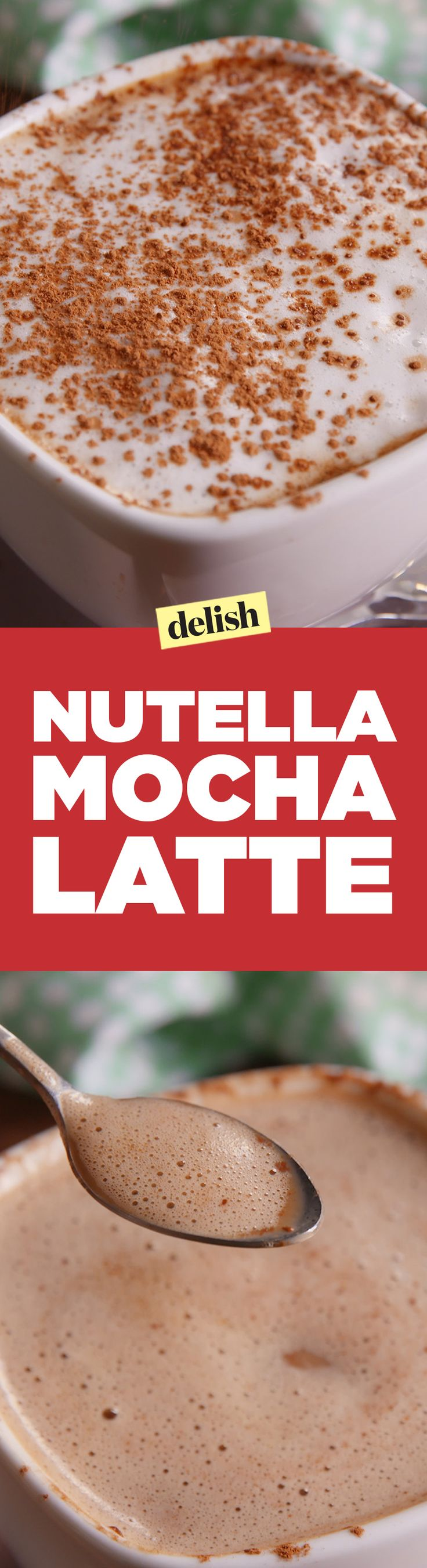 This Nutella mocha latte uses the easiest hack ever to froth milk. Get the recipe on Delish.com.