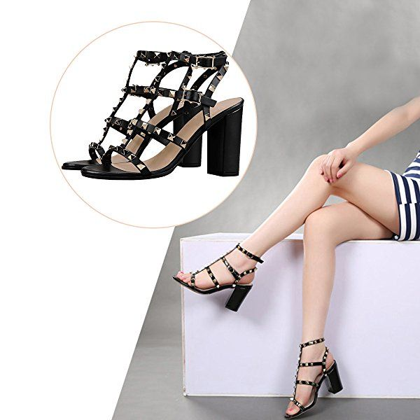 a572ca7d2 Comfity Sandals For Women,Rivets Studded Strappy Block Heels Slingback  Gladiator Shoes Cut Out Dress