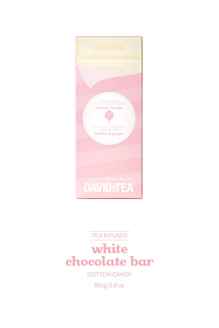 White chocolate infused with our Cotton Candy tea.