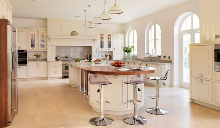 Kitchen Island With Seating At The End | .co.uk An Island That Has A Round  End Creates A More Social Seating ... | Kitchen | Pinterest | Kitchens,  Condos ...