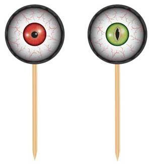 20 leuke halloween prikkers van enge ogen in verschillende kleuren. Met deze leuke prikkers maak je een simpel hapje als een worstje of een kaasje gemakkelijk helemaal in een halloween thema. Ook zijn deze halloween prikkers leuk voor in een cupcake of een taart! De prikkers zijn gemaakt van hout en karton. De prikkers zijn ongeveer 12 cm lang