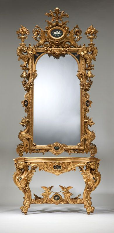 364 best louis xv rococo and style furniture images on for Floor mirror italian baroque rococo style