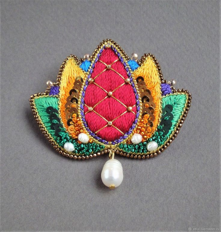 Buy Brooch LOTUS beads, sequins, silk, straw, pearls - embroidery, bead embroidery, lotus