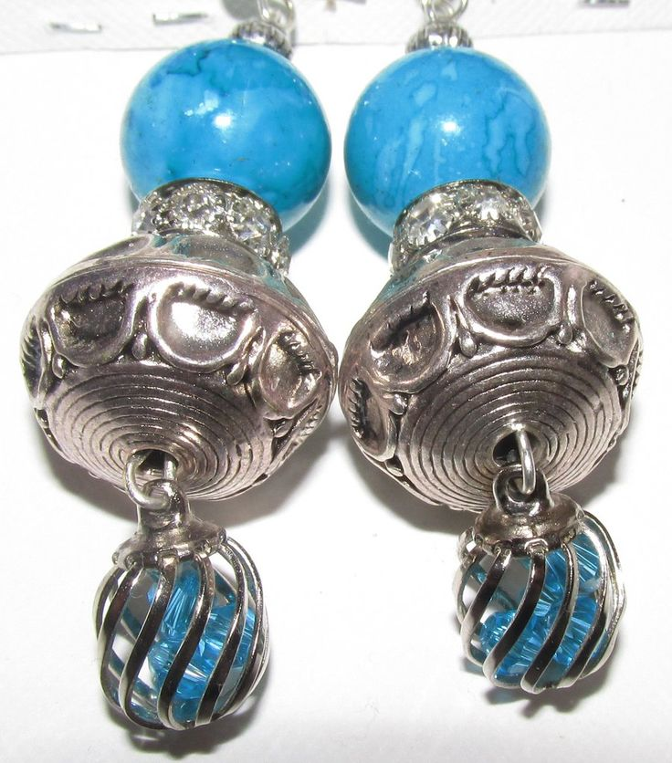 Silver Crystal Pale Blue Bead Silver Shamballa , Silver Bead , and  Blue & Silver Crystal Drop Earrings