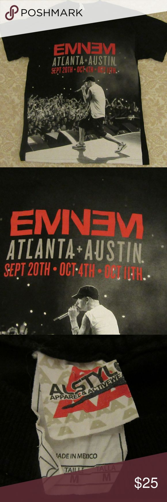 Eminem 2014 Concert Tour Atx Atl tee M great shape  Eminem 2014 Concert Tour Austin Texas Atlanta Georgia Black T-Shirt Medium   pit to pit 18.5  shoulder to shoulder 18.5  top to bottom 27  ? Shirts Tees - Short Sleeve