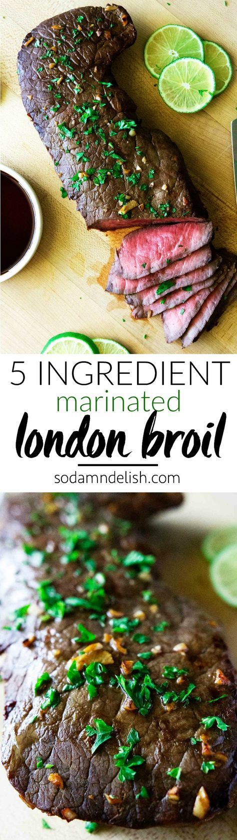 This marinated london broil recipe is so super easy! It has only 5 ingredients and takes under 10 minutes to cook! It's a surefire hit for all steak lovers out there.   #londonbroil #steak #londonbroilmarinade #steakmarinade