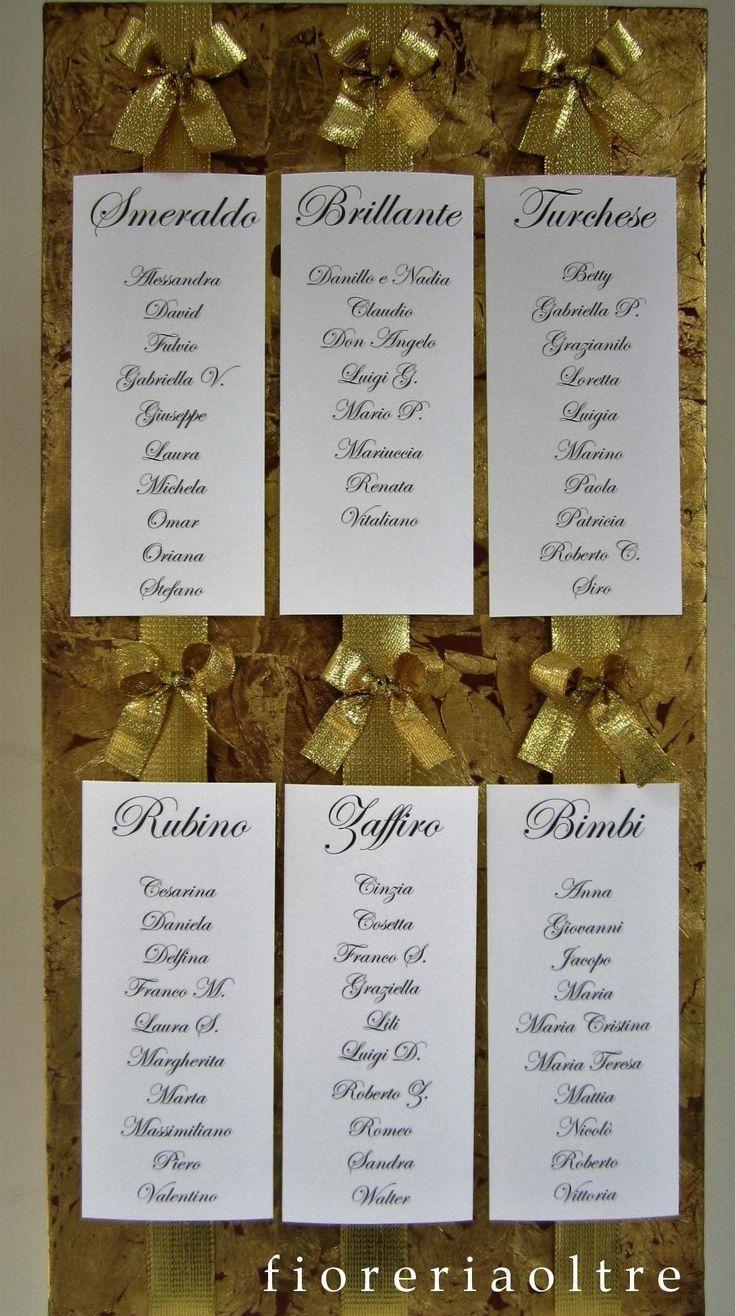 Fioreria Oltre/ 50th wedding anniversary table seating plan/ Golden anniversary/ Tableau de mariage