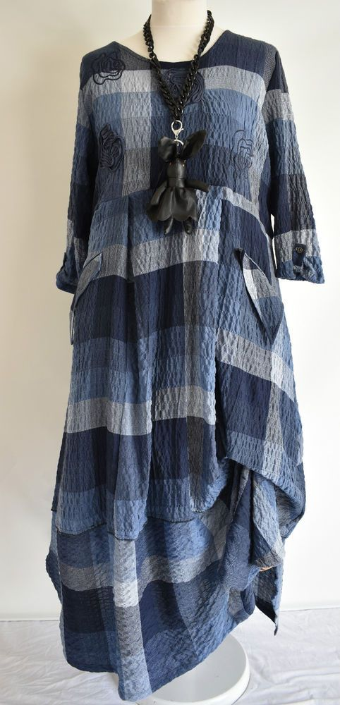 FAB GERMAN ZEDD.PLUS quirky/lagenlook BLUE CHECK parachute dress M/L in Clothes, Shoes & Accessories, Women's Clothing, Dresses | eBay