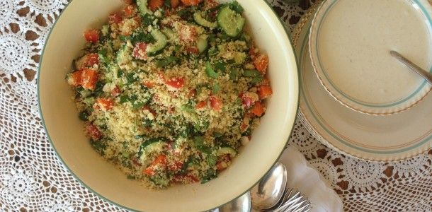 Roasted Vegetable Cous Cous w Cumin Yoghurt Dressing