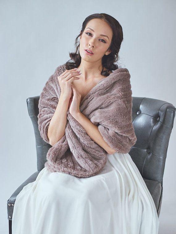 Bridal fur stole wedding shawl faux fur wrap winter for Winter shawls for wedding dresses