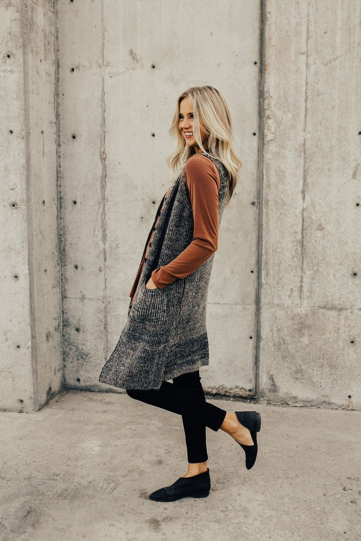 Knit Long Vest Cardigan | ROOLEE