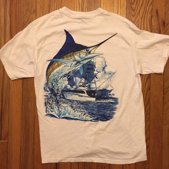 Men's White Salt Life Shirt This is a Men's White Guy Harvey Shirt. In perfect condition. It is solid white. The shadows in the pic are slightly deceiving Salt Life Tops Tees - Short Sleeve