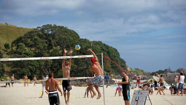 Mount Maunganui - my second home when growing up - every good beach has a volleyball game happening