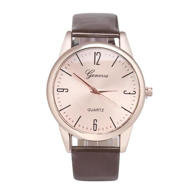 Women Geneva Watch Roman Numerals Leather Band Analog Quartz Wrist Watch montre femme geneva watches women leather luxury &03