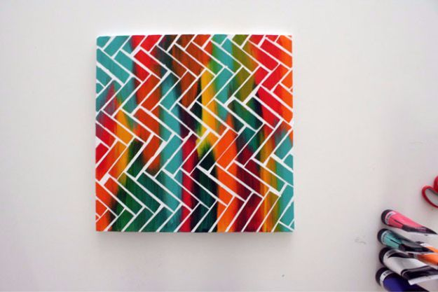 DIY Canvas Painting Ideas - DIY Canvas Painting With Scotch Tape - Cool and Easy Wall Art Ideas You Can Make On A Budget - Creative Arts and Crafts Ideas for Adults and Teens - Awesome Art for Living Room, Bedroom, Dorm and Apartment Decorating http://diyjoy.com/diy-canvas-painting