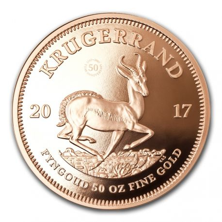 South Africa 2017 - Krugerrand 50th Anniversary 1967-2017 - 50 oz. Gold Proof Coin   South African Mint - Krugerrand 50th Anniversary 50 oz. Gold Coin