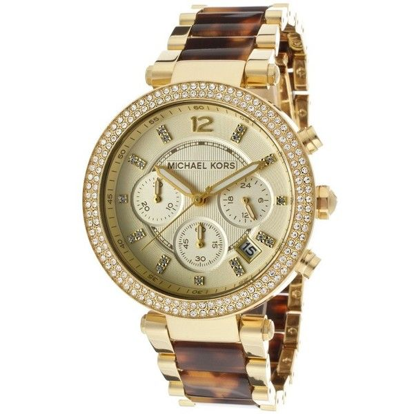 Michael Kors Parker Women's Watch ($285) ❤ liked on Polyvore featuring jewelry, watches, women's accessories, gold tone jewelry, michael kors jewelry, stainless steel chronograph watch, tortoise shell watches and michael kors watches