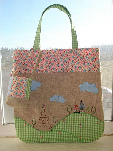 La tour eiffel no.3 tote #sewing #Zakka #embroidery