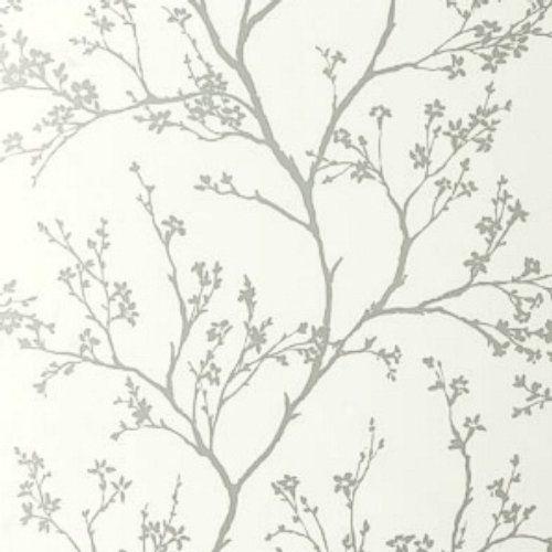Schumacher Twiggy Silver Wallpaper