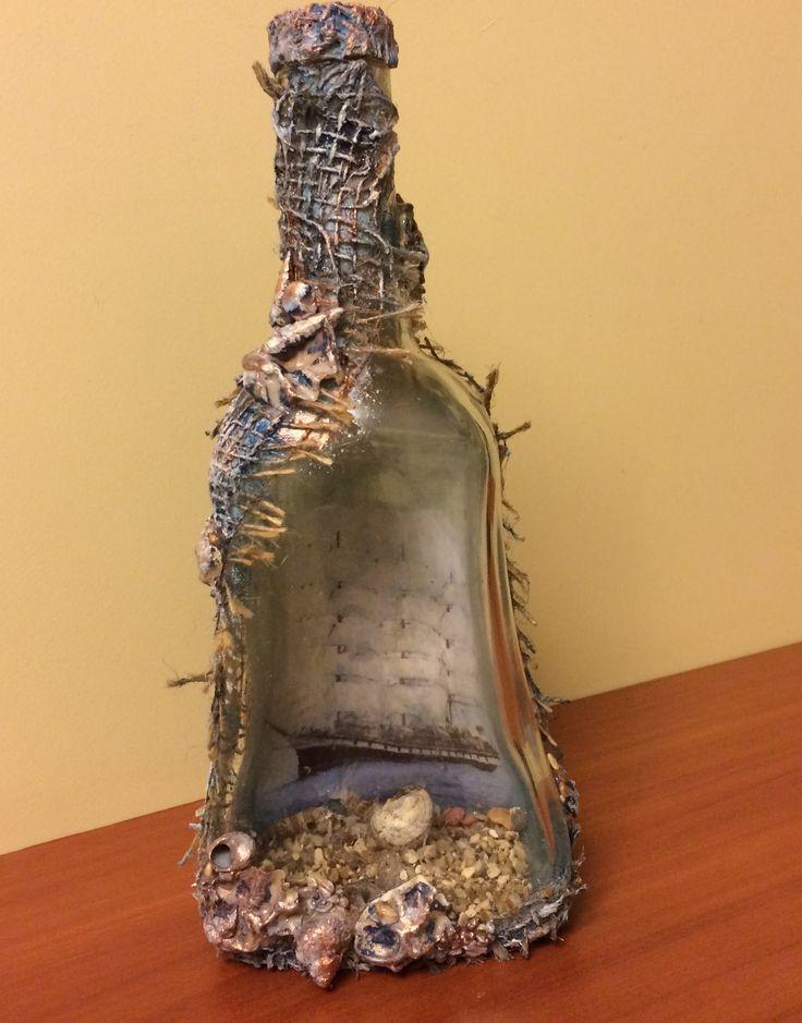 Декорирование бутылки. Обратный декупаж. (Decoration bottle. Reverse dec...