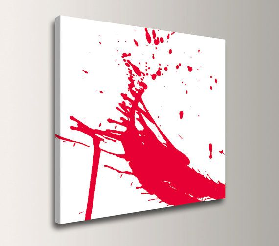 """Red and White Art - Canvas Print - Paint Splat - Abstract Wall Decor - """"Splash"""""""