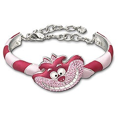 Alice-Cheshire Cat Bangle    Eye-catching and colorful, this rhodium-plated bangle features the Cheshire Cat. The enchanting Disney character sparkles in Light Rose crystal Pointiage®. Combine the bangle with the matching pendant for a trendy and playful Alice in Wonderland look!