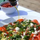 Sun ripened tomato, soft mozzarella and fresh basil salad with privately sourced Northern Spanish olive oil