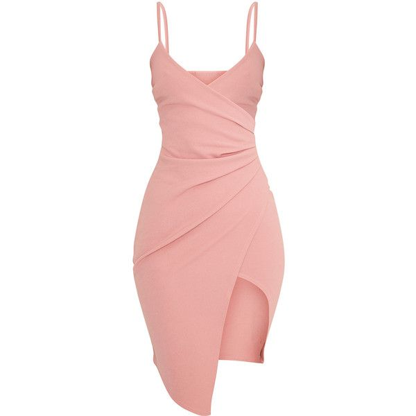 Lauriell Hot Pink Wrap Front Crepe Midi Dress ($39) ❤ liked on Polyvore featuring dresses, khaki dress, red midi dress, mid calf dresses, red crepe dress and midi dress