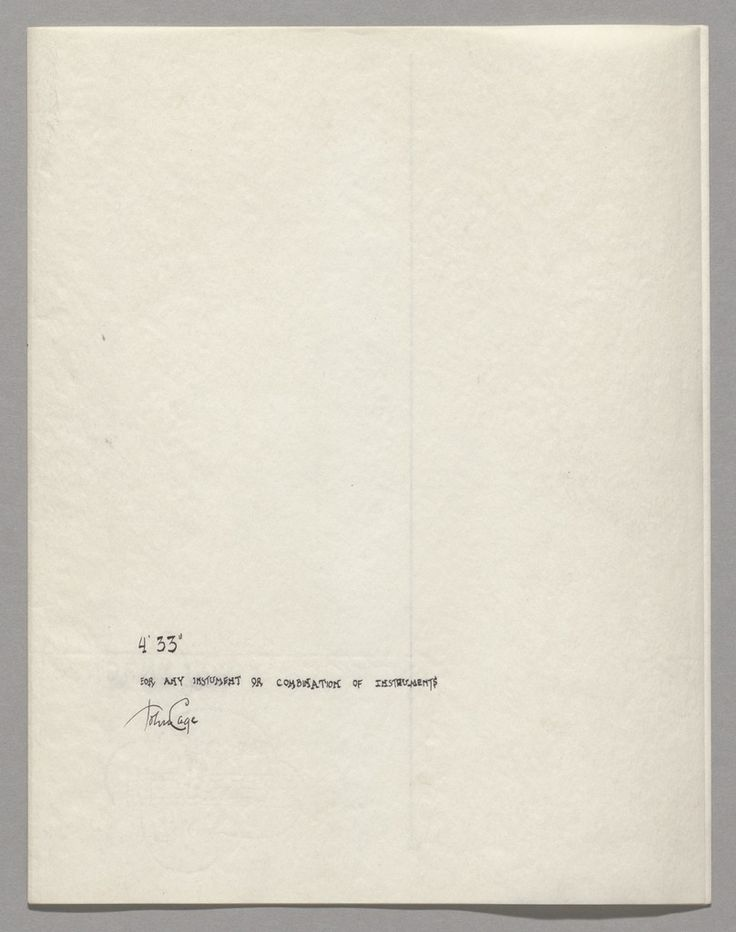 """The manuscript score for John Cage's 4'33""""—the most infamous piece of musical minimalism.1952/1953"""