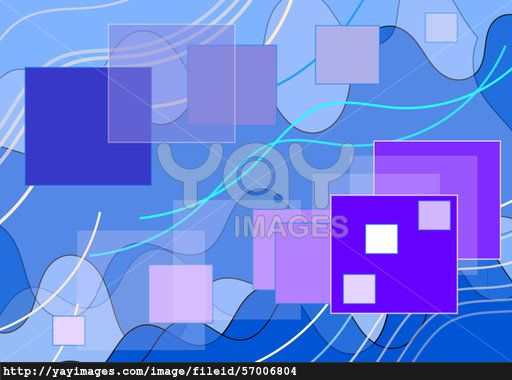 Composition on  blue  background, thin and fat lines, large and small squares , contours of squares.