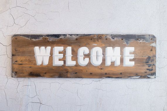 Welcome sign, Lighted wall sign, handcrafted sign, pallet wood, wooden sign, rustic industrial style sign, vintage look, LED sign