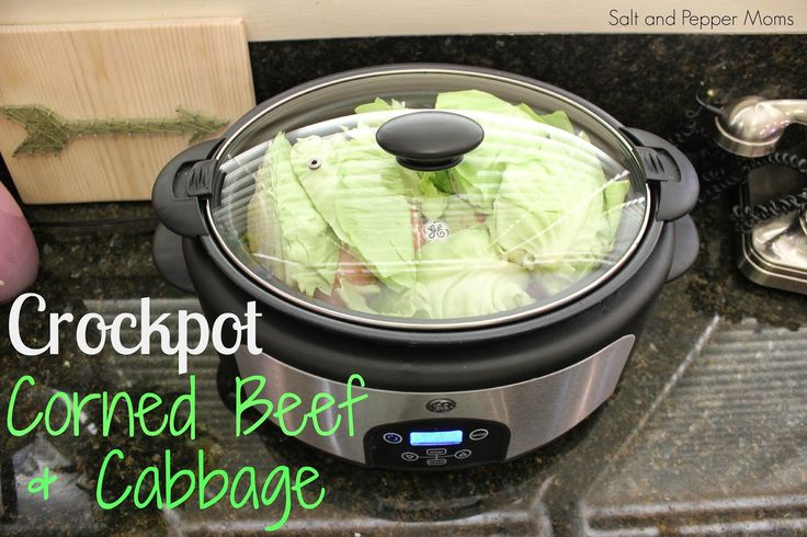 Salt and Pepper Moms: Crock Pot Corned Beef & Cabbage  Ingredients: 1 corned beef brisket with spice packet (3 lbs) 1 head cabbage 3 large potatoes 12 oz. petite carrots 1 onion 3 cups water 2 Tbsp. minced garlic 2 Tbsp. apple cider vinegar 2 Tbsp. sugar 1/2 tsp. pepper