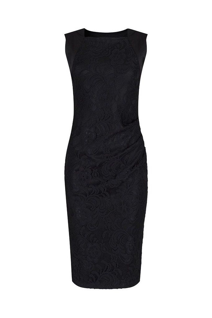 Black Panelled Lace Wiggle Pencil Dress