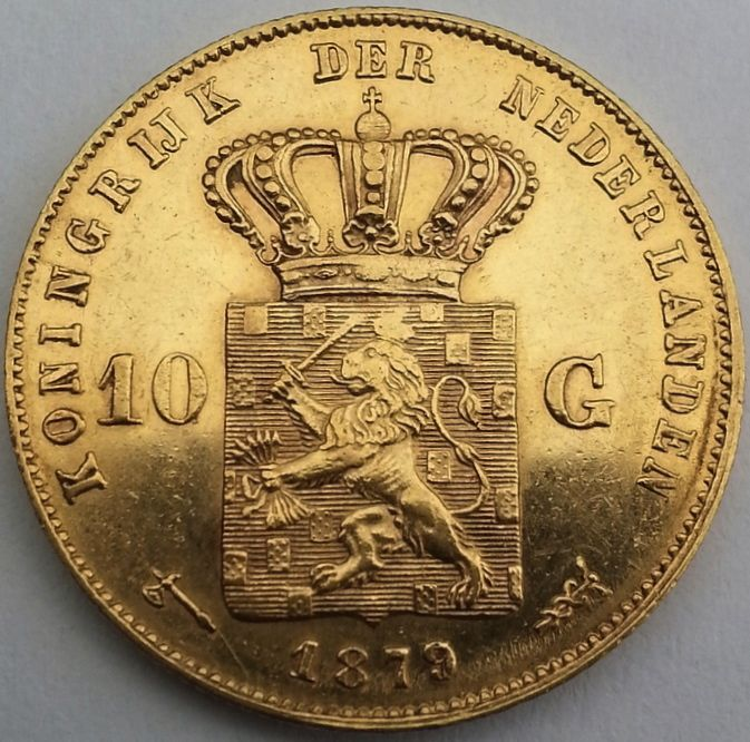 Nederlands - 10 guilden 1879/77 (overstrike over 1877) Willem III goud
