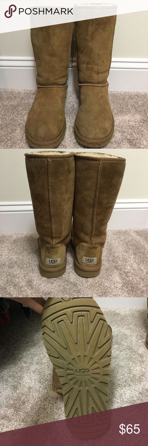 Original Uggs - Tall Tall, tan UGG boots. Gently used and in great condition! UGG Shoes Winter & Rain Boots