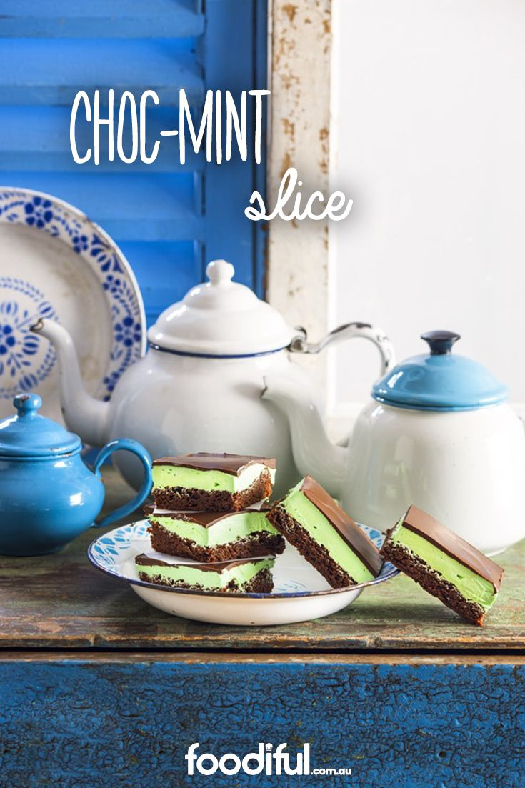 A fan of the choc-mint biscuit? You'll love the choc-mint slice! It has a thick, creamy peppermint middle and dark-choc top. It takes 55 minutes and makes 12 slices.