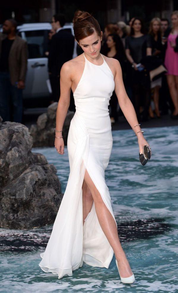 Emma Watson is the definition of stylish,Emma Watson arrive at Noah premiere in white dresses