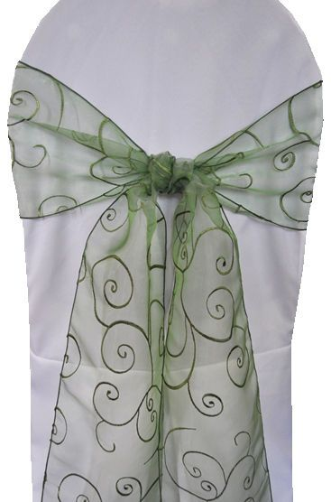 Wedding chair sashes 8 X 108 embroidered Clover Green 170 pieces