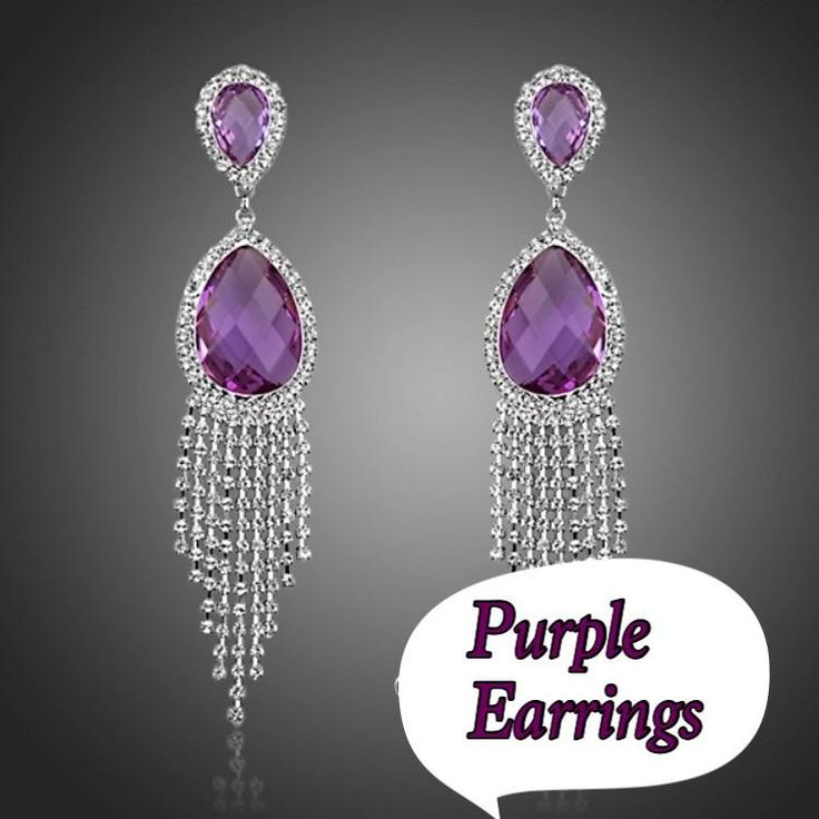 Purple long  earrings kod 949322