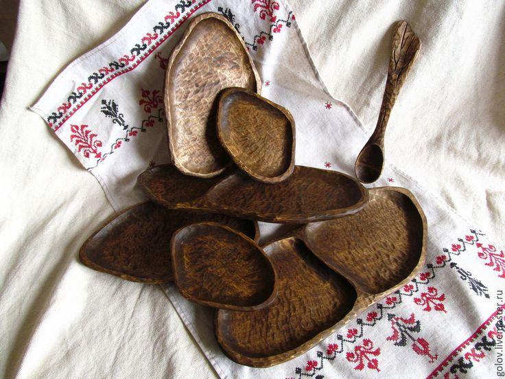 Купить Тарелочки рубленные - кухонная утварь, эко посуда, Деревянная посуда, резная посуда