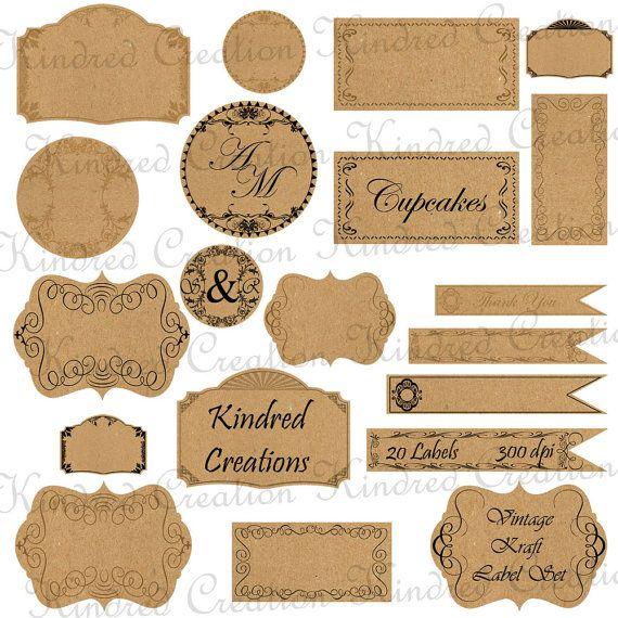 Vintage Kraft Papieren etiketten, Monogram Tags, Cirkel Frame Digital Versiering Set 300 dpi printbare clipart klein zakelijk gebruik