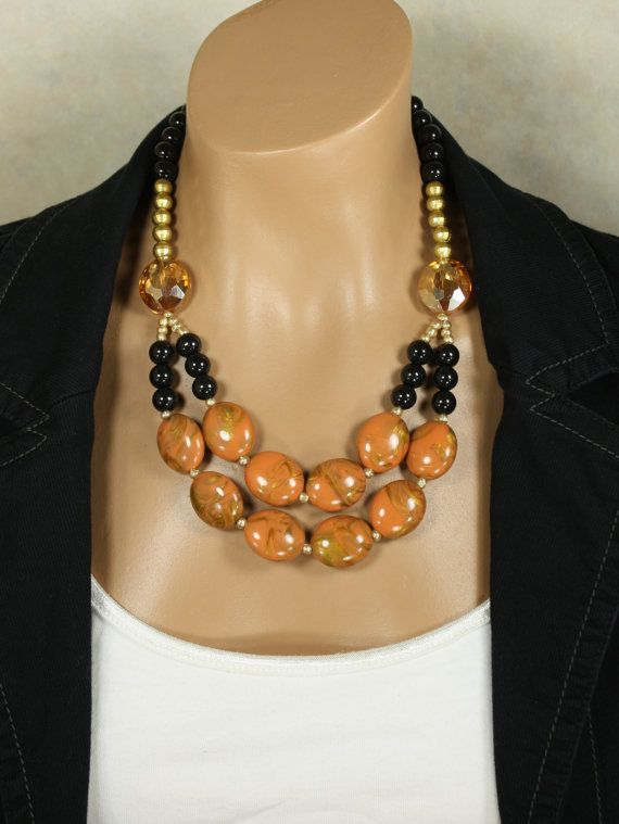 Big Gold Yellow Orange Beaded Statement Necklace, Golden Kiss