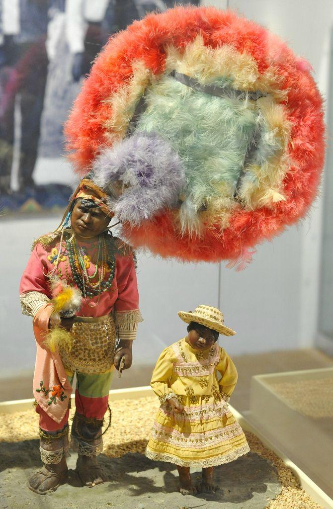 These dancers are wonderful wax sculptures by artist Carmen Castillo de Antunez.  The dancers are performing that famous Danza de la Pluma from the Valles Centrales de Oaxaca, Mexico.  Seen at El Museo de los Altos de Chiapas in San Cristobal