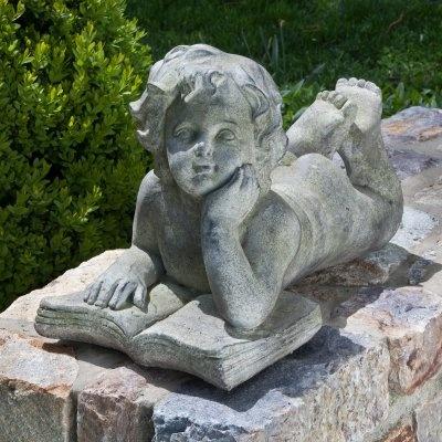 Alfresco Home Cherub Reading Book Garden Statue - 61-7218