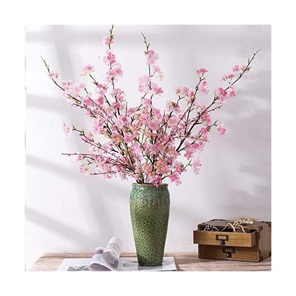 Yuyao Artificial Cherry Blossom Flowers 4pcs Peach Branches Silk Tall Fake Flower Arrangements For Home Wedding Decoration 41inch Pink Silk Flower Arrangem Fake Flower Arrangements Fake Flowers Cherry Blossom Flowers