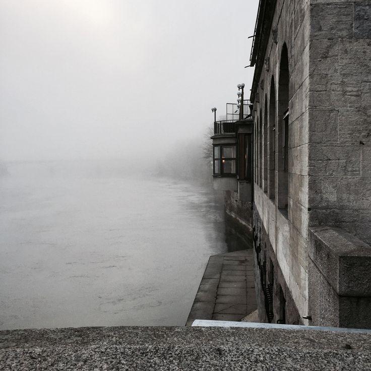 river rhine basel switzerland europe travel mist moody creepy