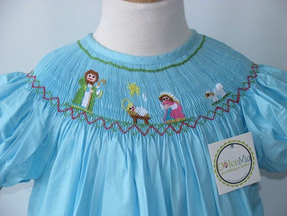 Smocked christmas dresses Nativity Smocked dress by handsmocked,
