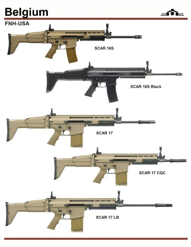 "from top: 1. and 2. are civilian version of SCAR-L, one in FDE color the other in black. 3. SCAR-H Standard with 16"" barrel 4. SCAR-H CQC[close quarters combat 13"" barrel 5. LB [long barrel] 20"" barrel"