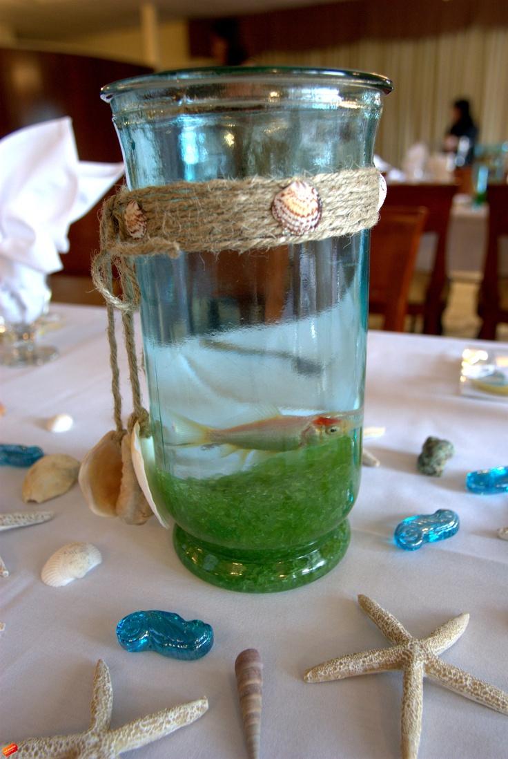 Beach themed bridal shower fish bowl centerpieces
