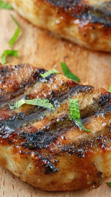 Grilled Pork Chops with Honey Mustard Glaze ~ Tender and flavorful grilled pork chops with honey mustard glaze. A quick and easy pork chop recipe packed with savory spices that your guests will love!